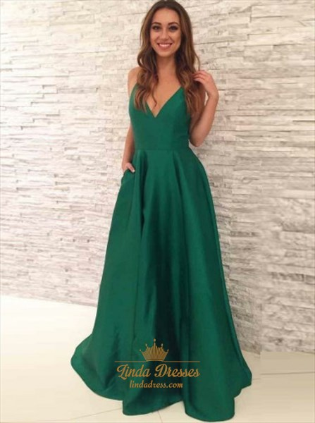 Emerald Green A-Line Sleeveless Plunging V-Neck Floor Length Prom Gown
