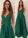 Show details for Emerald Green A-Line Sleeveless Plunging V-Neck Floor Length Prom Gown