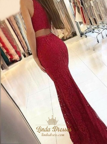 Floor-Length Sleeveless Burgundy Lace Mermaid Prom Dress With Cutouts