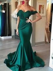 Simple Elegant Emerald Green Off The Shoulder Mermaid Evening Dress