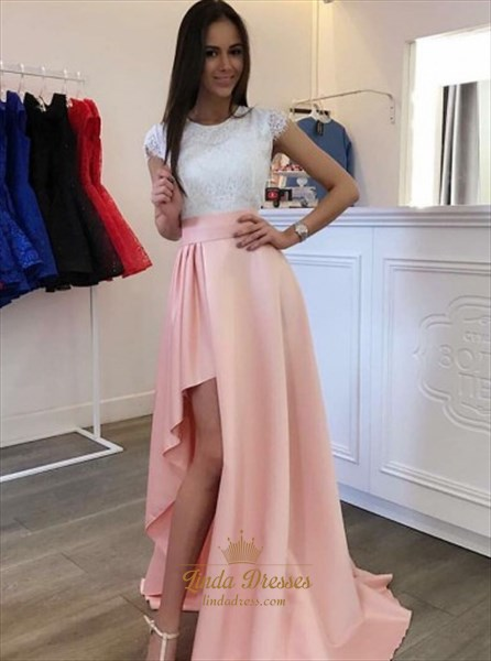 A-Line Cap Sleeve Lace Bodice Floor Length Two Tone Long Evening Dress