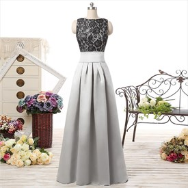 Sleeveless V-Back A-Line Floor-Length Prom Gown With Black Lace Bodice