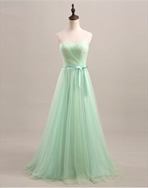 Light Green Strapless A-Line Ruched Tulle Floor-Length Bridesmaid Gown