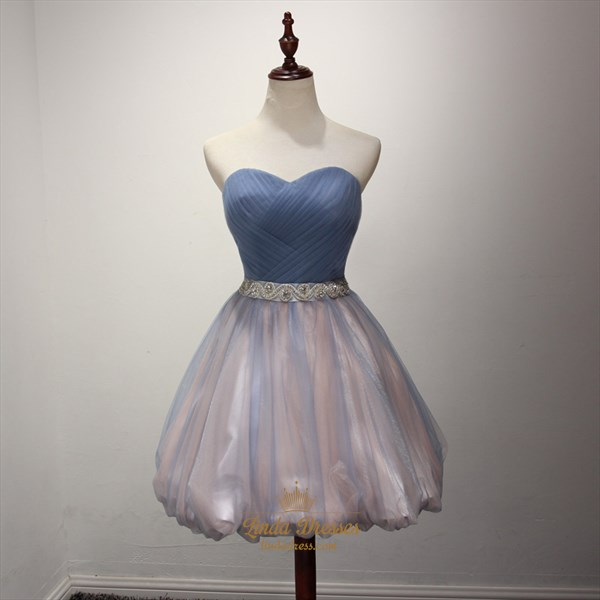 Cute A-Line Short Strapless Sweetheart Ruched Bodice Homecoming Dress