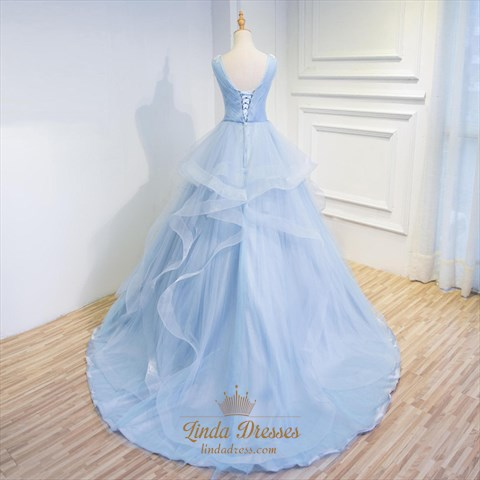 Light Blue Sleeveless V-Neck Floor-Length Applique Tulle Ball Gown