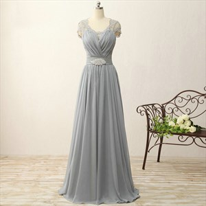 Grey Cap Sleeve A-Line Chiffon Long Prom Dress With Illusion Bodice