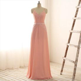 Peach Floor-Length Sleeveless Beads & Appliques Chiffon Evening Dress