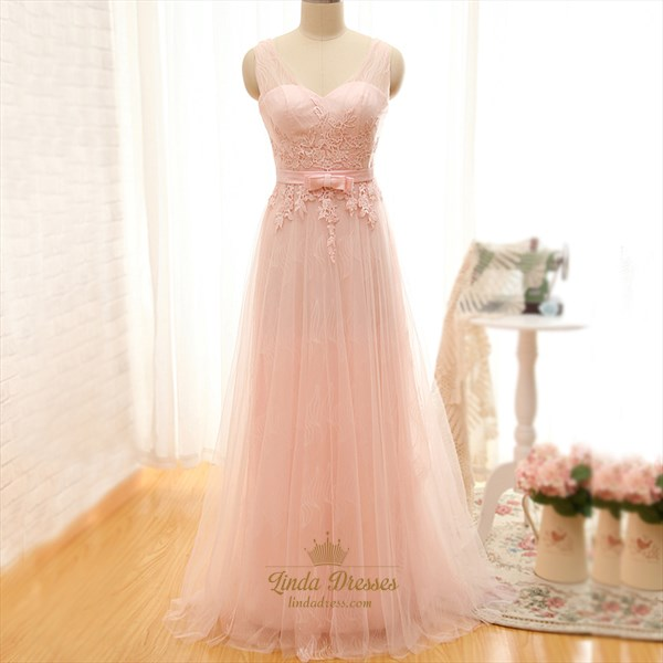 Blush Pink Sheer Sleeveless Applique Lace Overlay A-Line Evening Dress
