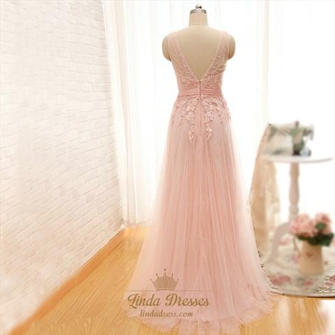 Blush Pink Sheer Sleeveless Applique Lace Overlay A-Line Evening Dress
