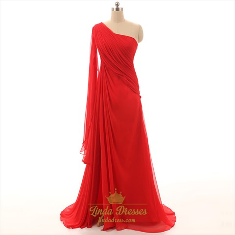 Red One Shoulder Floor-Length Ruched Chiffon Floor-Length Prom Dress