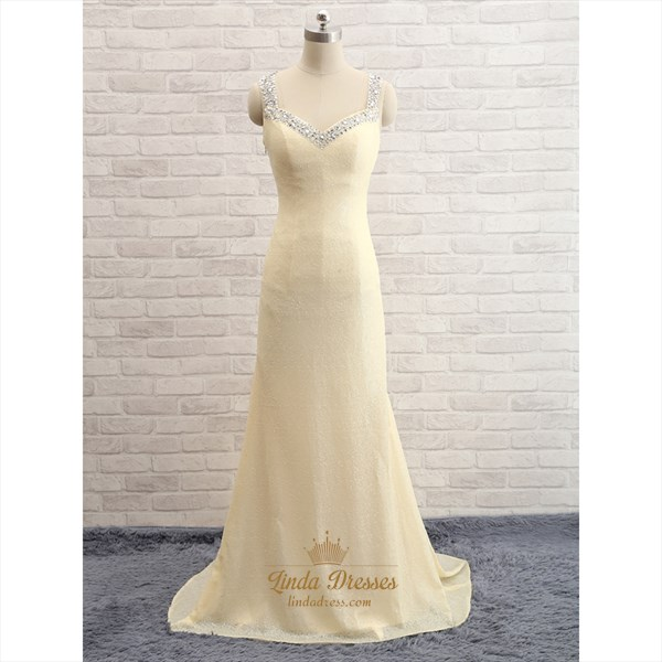 Show details for Light Yellow Beaded Sequin Sleeveless V-Neck Floor-Length Prom Dress