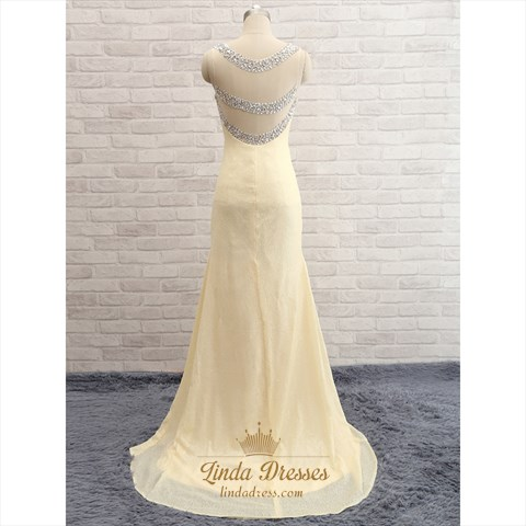 Light Yellow Beaded Sequin Sleeveless V-Neck Floor-Length Prom Dress