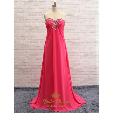 Coral Strapless Sweetheart A-Line Evening Gown With Beaded Neckline