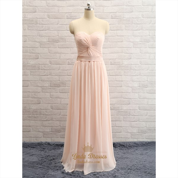 Show details for Pale Pink Strapless Sweetheart Ruched Chiffon Long Bridesmaid Dress