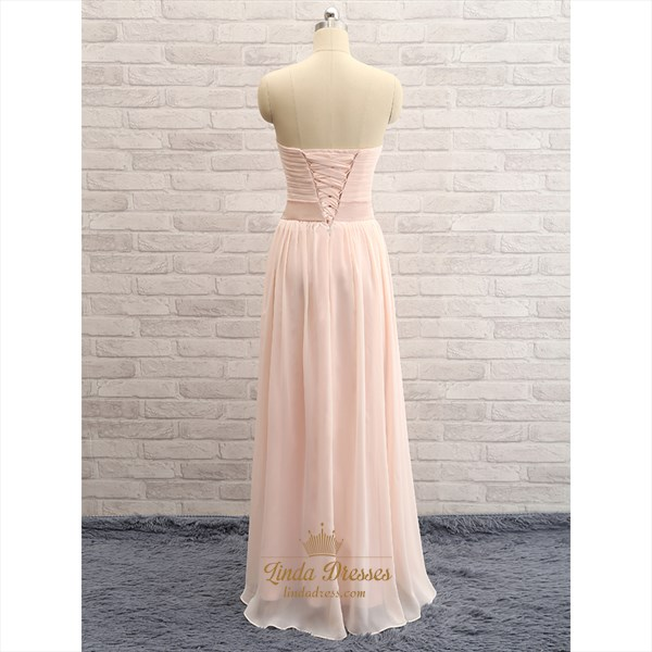 Pale Pink Strapless Sweetheart Ruched Chiffon Long Bridesmaid Dress