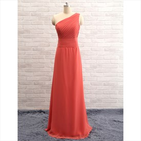 One Shoulder Sleeveless Ruched Bodice Long Bridesmaid Gown With Zipper