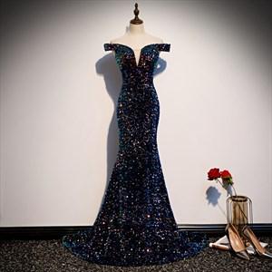 Iridescent Sparkly Glitter Sequin Evening Dress