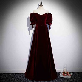 Elegant 19th Century Burgundy Velvet Off The Shoulder Ball Gown