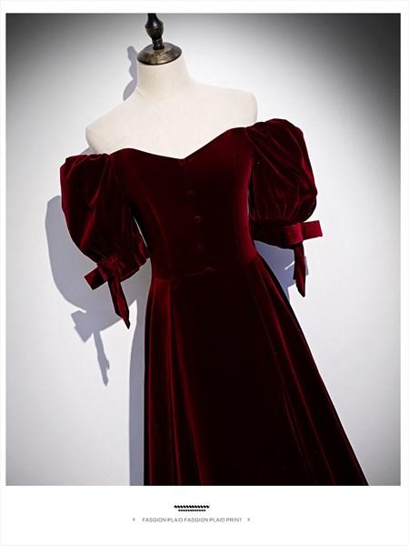 Elegant 19th Century Burgundy Velvet Off The Shoulder Ball Gown