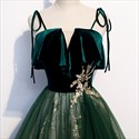 Show details for Emerald Green Tulle Spaghetti Strap  Prom Dress With Glitter Sequins