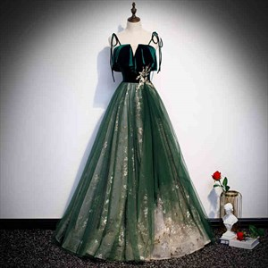 Emerald Green Tulle Spaghetti Strap  Prom Dress With Glitter Sequins