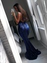 Show details for Navy Blue Mermaid Spaghetti Straps Backless Sweep Train Sequin Prom Dress