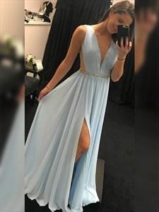 Sky Blue V-Neck Chiffon Split Long Prom Evening Dress With Beading