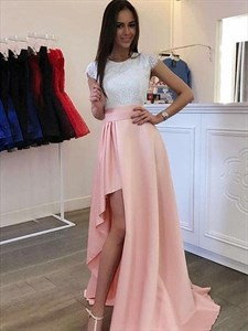 Ivory Lace Bodice And Pink Split Front Prom Dress With Cap Sleeves