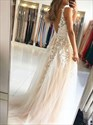Show details for Champagne V-Neck Lace-Applique Sleeveless Prom Dress With Open Back