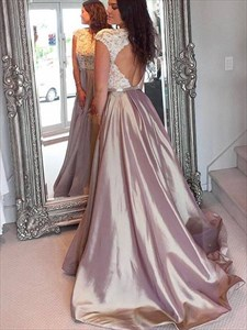 Lace Applique Bodice Long Backless Prom Dress With Cap Sleeves