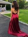 Show details for Burgundy Deep V-Neck Halter Long Backless Prom Dress With Split Front