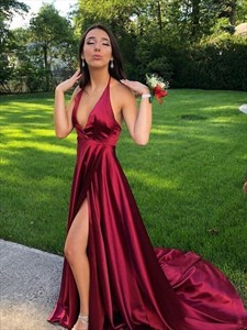 Burgundy Deep V-Neck Halter Long Backless Prom Dress With Split Front