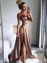 Show details for Deep V-Neck A-Line Spaghetti Straps Prom Dress With Split Front