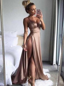 Deep V-Neck A-Line Spaghetti Straps Prom Dress With Split Front