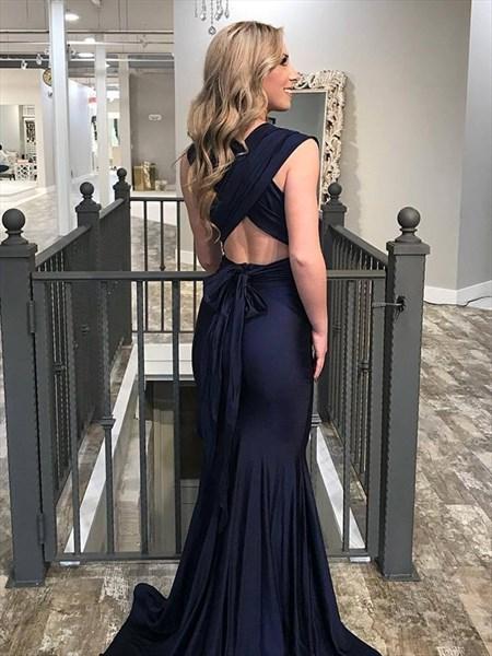 Deep V-Neck Sleeveless Pleated Mermaid Backless Prom Dress With X-Back