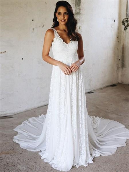 A-Line V-Neck Sleeveless Chiffon Wedding Dress With Lace Embellished