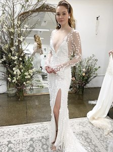 Ivory Mermaid V-Neck Long Sleeves Lace Wedding Dress With Split