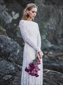 Show details for A-Line Backless Lace overlay Wedding Dress with Long Sleeves