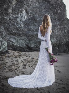 A-Line Backless Lace overlay Wedding Dress with Long Sleeves