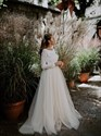 Show details for A-Line Lace Bodice Open Back Tulle Wedding Dress With Long Sleeves