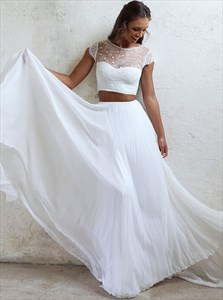 Two Piece Lace Bodice Chiffon Beach Wedding Dress With Cap Sleeves
