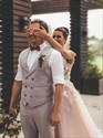 Show details for Pink A-Line V-Neck Backless Wedding Dress With Lace Appliques
