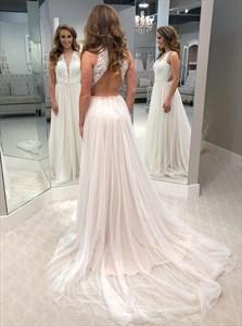 Ivory A-Line Lace Bodice V-Neck Open Back Tulle Wedding Dress