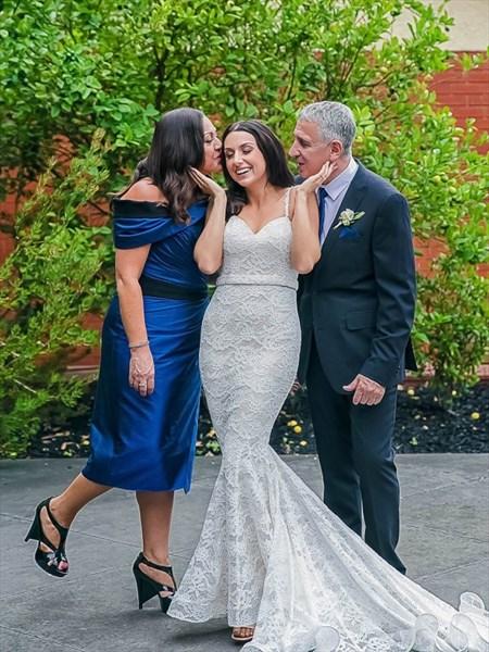 Ivory Mermaid Spaghetti Straps Lace Overlay Wedding Dress