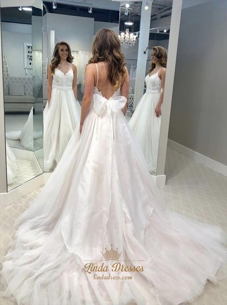 Lace Bodice Spaghetti Straps Backless Wedding Dress With Bowknot