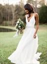 Show details for A-Line V-Neck Sleeveless Chiffon Beach Wedding Dress With Beading