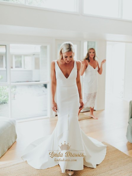 Mermaid V-Neck Backless Sweep Train Satin Wedding Dress