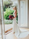 Show details for Mermaid V-Neck Backless Sweep Train Satin Wedding Dress