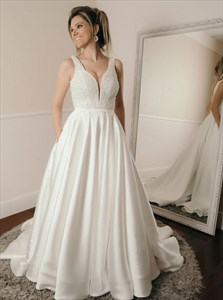 A-Line Beaded Bodice V-Neck Satin Wedding Dress With Pockets