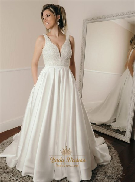 Show details for A-Line Beaded Bodice V-Neck Satin Wedding Dress With Pockets